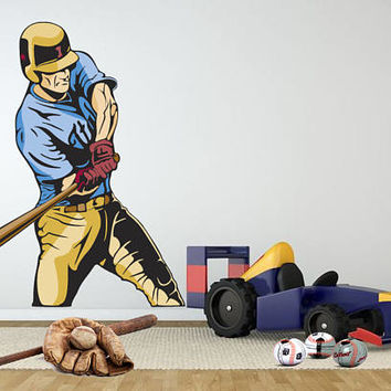 Baseball Batter Wall Decal - Baseball Hitter Wall Decor Sticker - Baseball Sports Wall Decal - Boy Room Sports Wall Decal Bedroom mc316