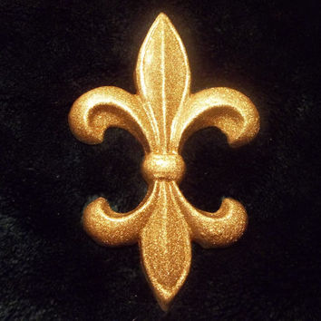 Fleur De Lis Wall Hanging Gold French Country Decor Glitter Plaque