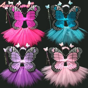 Hot Sale 4 Pcs Fairy Princess Kids Cosplay Costume Sets Angel Butterfly Wings Wand Headband Tutu Skirt 8 Color Free Shipping
