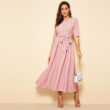Elegant Pink High Waist Belted Fit and Flare Plaid Long Dress Women Half Sleeve Office Lady Dresses