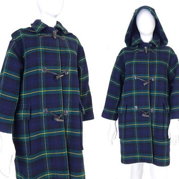 Vtg 80s The Scotch House Plaid Duffle Coat - Petite L XL - Hooded Womens Blue and Green Tartan Heavyweight Vintage Wool Toggle Coat