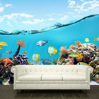 "Wall STICKER MURAL ocean sea underwater decole film poster 102x157""(260x400cm)"