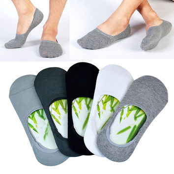 5 colors Men Socks Boat Classic Male Brief 100% BAMBOO & Cotton Invisible Man Sock Slippers Shallow Mouth no showSock