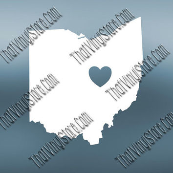 Ohio Heart Home Decal | I Love Ohio Decal | Homestate Decals | Love Sticker | Love Decal  | Car Decal | Car Sticker| 494