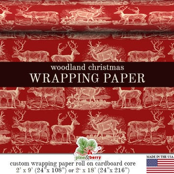 Pink Christmas Wrapping Paper Roll |  Vintage Reindeer Christmas Custom Gift Wrap In Two Sizes. More Color Combinations Available