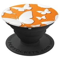 White Butterflies Orange Background - PopSockets Grip and Stand for Phones and Tablets