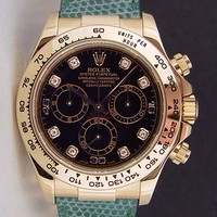 Rolex Cosmograph Daytona Yellow Gold Black Diamond Green Leather Strap 116518