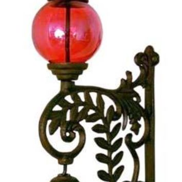 Cast Iron Bell With Red Glass Gazing Ball