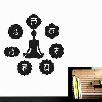 Wall Decal Vinyl Sticker Decals Art Decor Design Buddha  Indian Yoga Om Bamboo Prayer God Kharma  7 Chakras Style Dorm Bedroom (r499)