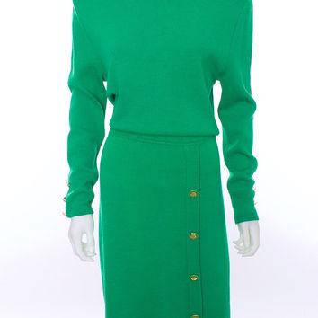 St John Vintage Kelly Green Knit Long Sleeve Dress Size 16