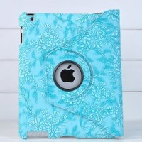 Ctech 360 Degrees Rotating Stand (Blue) Stylish Embossed Flowers Case for iPad 3 / The New iPad (3rd Generation) /iPad 2, Supports Smart Cover Wake/Sleep Function