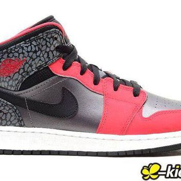 DCCKIJ2 Women's Nike Air Jordan 1 Retro High Leather Basketball Shoes Silver Red