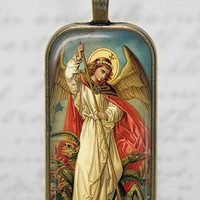 St Michael Archangel Necklace Religious Archangel Glass Tile Pendant Christian Jewelry