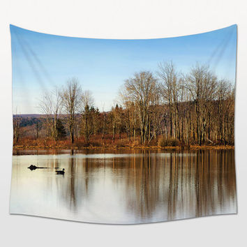 Landscape Tapestries, Nature Photo, Wall Decor, Lake Landscape, Winter Photography