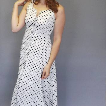 Vintage 80s does 50s Black White Polka Dot Mimosa Tank Day Dress Nautical 60s Wiggle Dress Sundress Petite Tea Dress Pin Up Girl Rockabilly