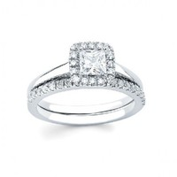 5/8ct tw Diamond Halo Engagement Ring in 14K White Gold - Designer Prototypes - Engagement Rings