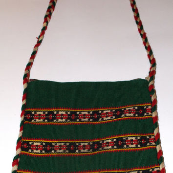 Vintage Tribal bag - Ethnic Woven Crossbody Bag - Green Tapestry Purse Aztec Wayuu bag - Bohemian Mexican Peruvian Tote fringes ethnic Peru