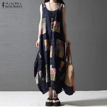 Summer Vestidos 2016 ZANZEA Women Vintage Print Dress O Neck Sleeveless Maxi Long Party Dresses Loose Casual Dress Plus Size
