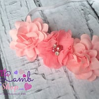 Newborn Girl Baby Headband Pink Infant Head Band, flower girl baby girl hair band photography props - Canada
