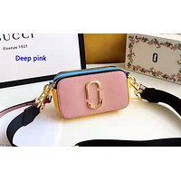Marc Jacobs casual small shoulder bag hot seller in shopping patchwork color Deep pink