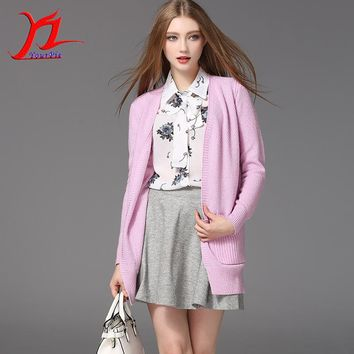 Autumn Winter Women Cardigan Thick Knitwear Outer Jumper Pocket Midi Pattern Solid Color V-Neck Side Slit