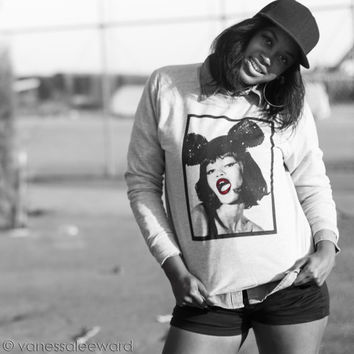 Mickey Mouse Ears and Red Lip Stick Heather Grey Crew Neck Warm Sweatshirt with Girl with Sequin Minnie Mouse Ears and Bright Red LipStick