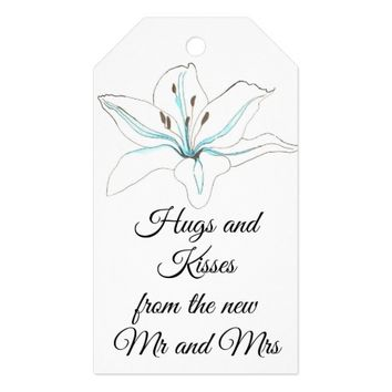 Hugs and kisses Mr and Mrs Lilly Flower Gift Tags