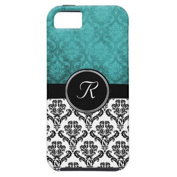 Black and Deep Teal Damask Monogram Case