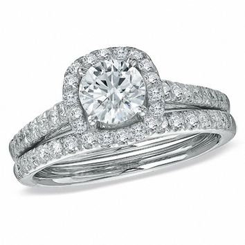 1-3/4 CT. T.W. Diamond Framed Bridal Set in 14K White Gold|Zales