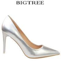 BIGTREE 2017 Woman's Shoes Women's Pumps Pointed Toe High Heel Stiletto Classic Pumps Silver Closed Toe Pumps Prom Shoes White