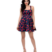 Navy & Red Cherry Print Fit N Flare Short Dress