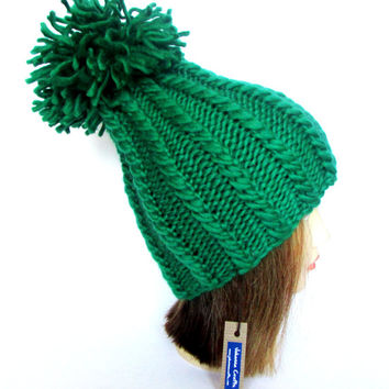 Irish hand knit hat - tall hat - bright green hat - st patrick's day hat- paddys day hat - pattys day hat - warm hand knit hat from Ireland