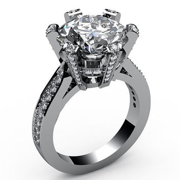 Forever one moissanite engagement ring 18K Ring 6 prongs with Diamonds on the Prongs