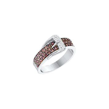 14kt White Gold Womens Round Cognac-brown Colored Diamond Belt Buckle Band Ring 1/2 Cttw