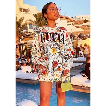 GUCCI Newest Fashion Women Casual Flower Letter Print Long Sleeve Sweater Sweatshirt