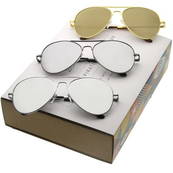Classic Retro Full Metal Mirrored Lens Aviator Sunglasses A607 [Promo Box]