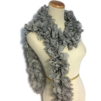 Ruffle Scarf, Knit Scarf, Animal Print, Hand Knit Scarf, Fashion Scarf, Womens Scarf, Fiber Art, Cheetah, Black and White Scarf