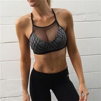 PEAPFS2 Women Sexy Sports Bra Fitness Top Yoga Bra Plus Size Crop Top Mesh Running Bra Gym Workout Breathable Quick Dry Underwear
