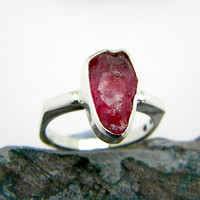Ruby ring sterling silver rough raw ruby stone, solitaire ring, stacking ring, July birthstone, ring size 6, gemstone ring, ruby jewelry