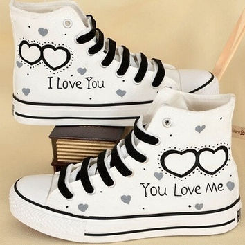 I Love You High Upper Plimsolls for Couples, Hand Painted Shoes.