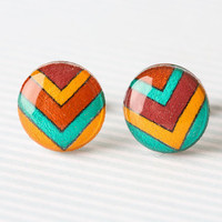 Chevron Post Earrings in Mustard, Berry, and Peacock