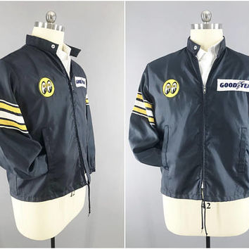 1970s Vintage / Goodyear Racing Jacket / Mooneyes Patch / Official Racing Apparel / Racing Stripe / Dark Blue Windbreaker / Size XL / 44- 46