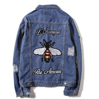 One-nice™ GUCCI Fashion Bee Embroidery Distressed Denim Cardigan