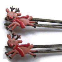 Flying Reindeer Hair Pins Christmas Barrette Girls Bobby Pins Cute Holiday Button Hair Clip