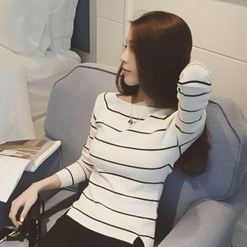 DCCK0OQ Korean Ladies Slim Stripes Tops Long Sleeve Split Knit T-shirts [8664675527]