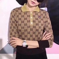 """Gucci"" Fashion Retro GG Letter Lapel Knitwear Women Long Sleeve Polo Shirt Tops"