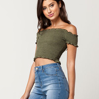 FULL TILT Smock Lettuce Edge Womens Top | Knit Tops + Tees