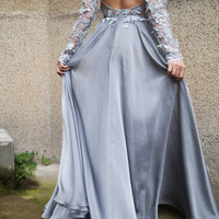 3D Lace Gown/Evening Lace Dress/Chiffon Dress/Backless Dress/Handcrafted with Beads/Romantic Dress/Prom Gown/Evening Gown/Gray Gown/F1584