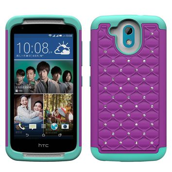 HTC Desire 526 Rhinestone Case , Slim Hybrid Dual Layer[Shock Resistant] Crystal Rhinestone Studded Case Cover - Purple/Teal