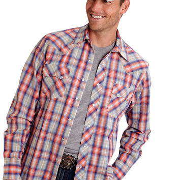 Roper Mens 9807 Orange Sunset Plaid Performance Long Sleeve Shirt Snap Closure - 2 Pocket